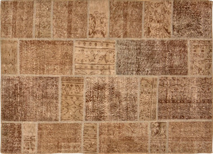 """Overdyed Patchwork Rug, 4'11"""" x 6'11"""""""