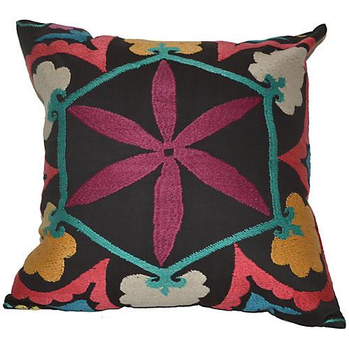 Black Floral Suzani Pillow