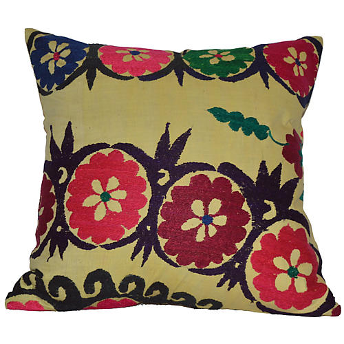 Yellow Floral Suzani Pillow