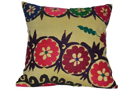 Yellow Floral Suzani Pillow