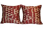 Handmade  Silk  Ikat Pillow, Pair