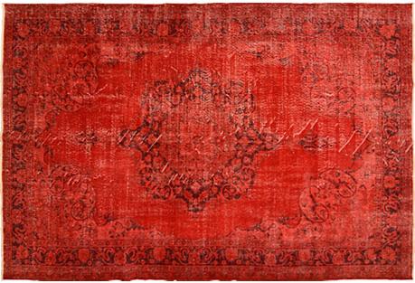 Anatolian Red Overyed Rug, 7'3