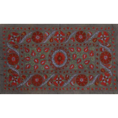 Uzbek Floral Suzani Throw
