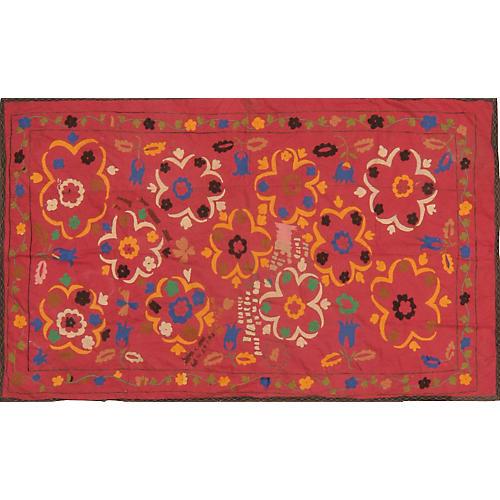 Uzbek Red Suzani w/ Flowers