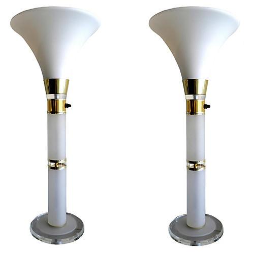 Opaline & Lucite Lamps, Pair
