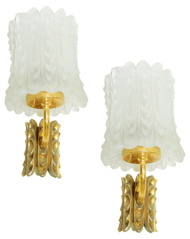 French Mid-Century Modern Sconces, Pair