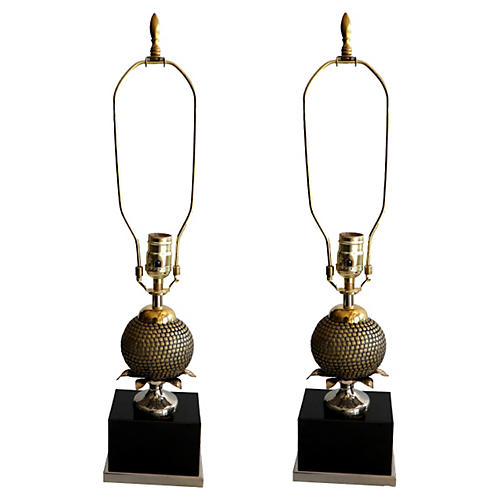 Maison Charles Pomegranate Lamps, Pair
