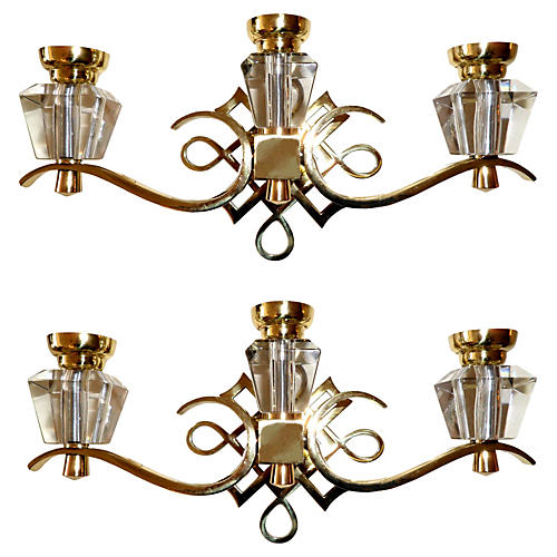 Jules Leleu Sconces, Pair