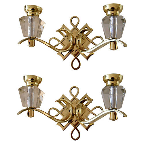 Jules Leleu French Sconces, Pair