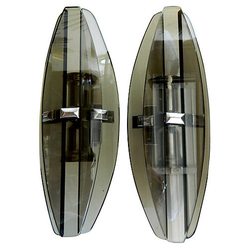 Fontana Arte-Style Glass Sconces, Pair
