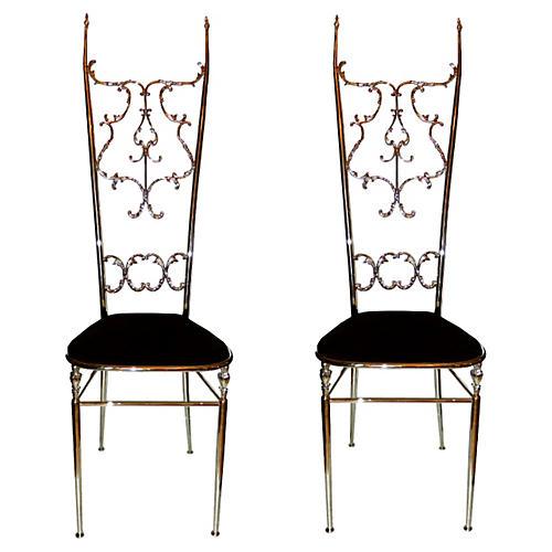 Neoclassical-Style Chiavari Chairs, Pair