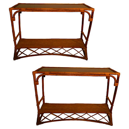 French Colonial Bamboo Consoles, Pair