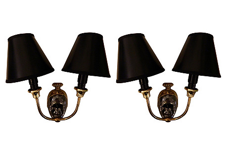 French Brass Sconces, Pair