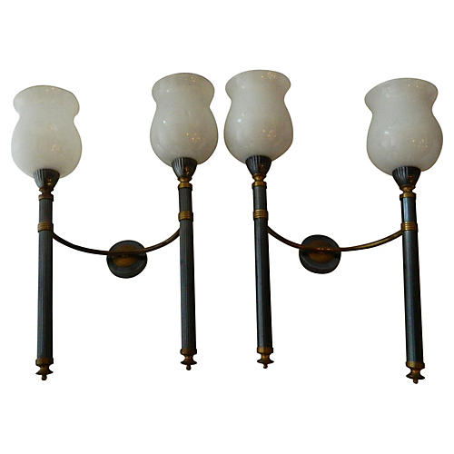 Maison Jansen Double-Arm Sconces, S/2