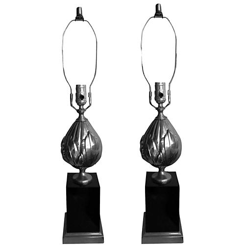Maison Charles-Style Lotus Lamps, Pair
