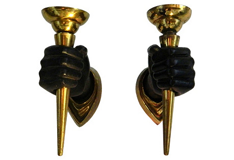 Hands Holding Torches Sconces, Pair