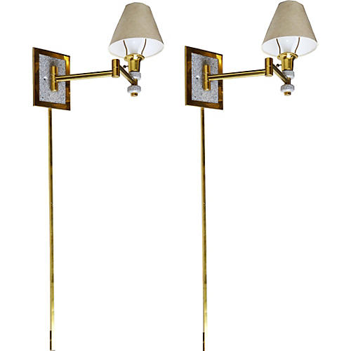 Marble & Brass Swing-Arm Sconces, Pair