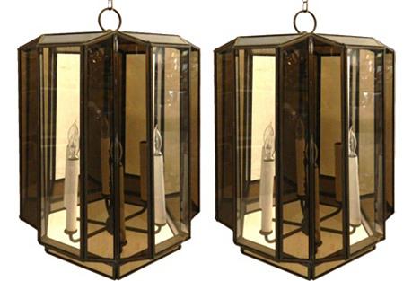 Large Brass Hanging Lanterns, Pair