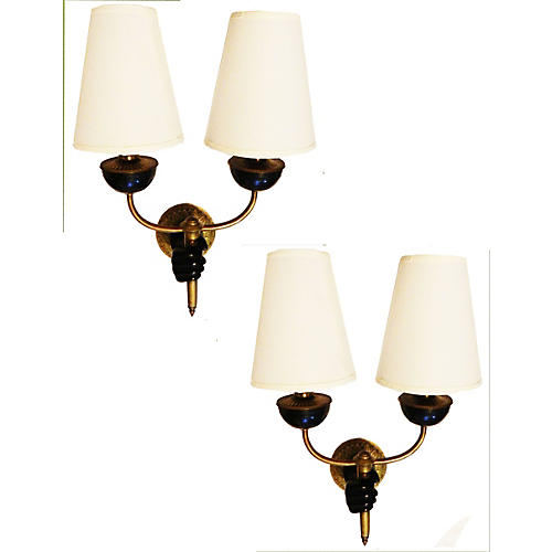 French Wall Sconces by Andre Arbus, Pair
