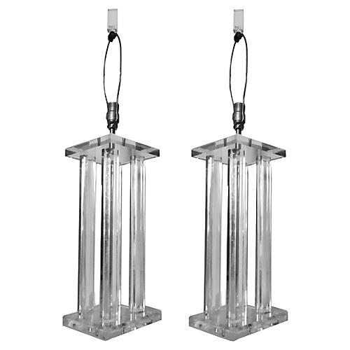Lucite Table Lamps, Pair