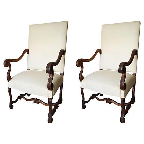 French Louis XIV-Style Armchairs, Pair