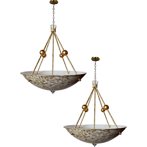 4-Light Lucite Chandeliers, Pair