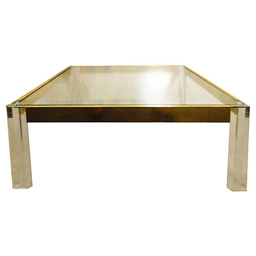 Italian Lucite & Brass Coffee Table