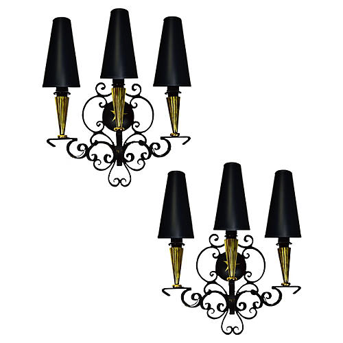 Andre Arbus 3-Arm Sconces, Pair