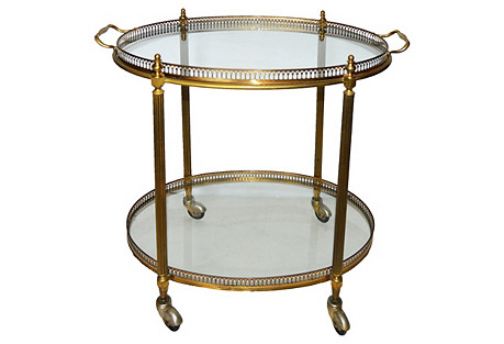French Louis XVI-Style Oval Bar Cart
