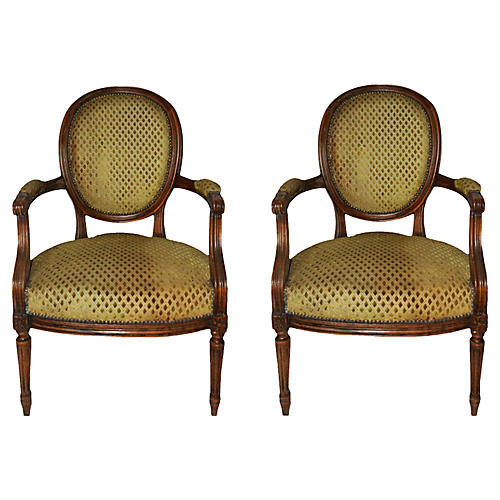Cabriolet Louis XVI-Style Chairs, Pair
