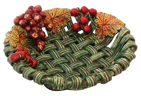 Decorative Ceramic Basket Dish, C. 1960