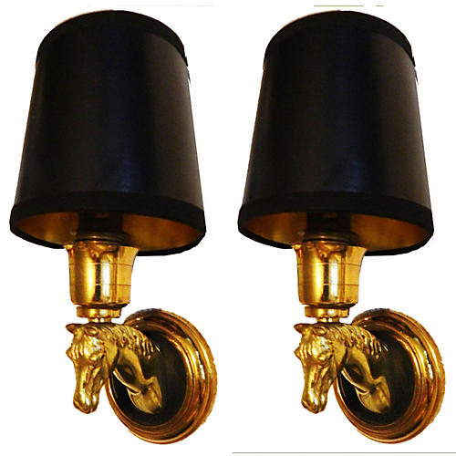 Maison Lancel Horse Heads Sconces, Pair