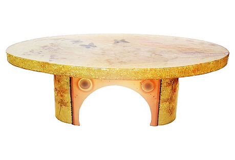1970s Accolay Oval Coffee Table