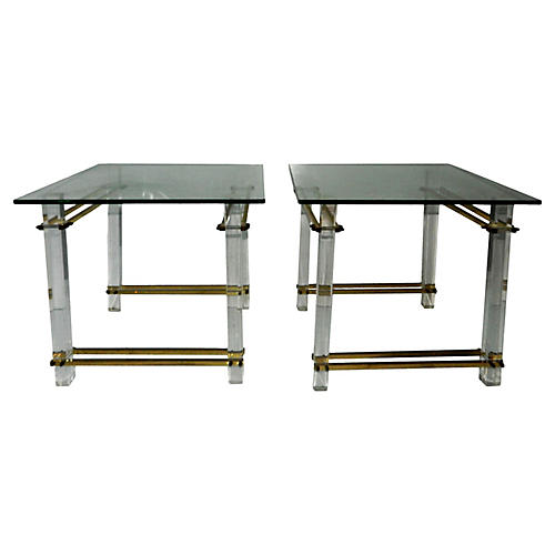 Lucite Side Tables, Pair
