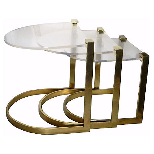 French Bronze Nesting Tables, S/3