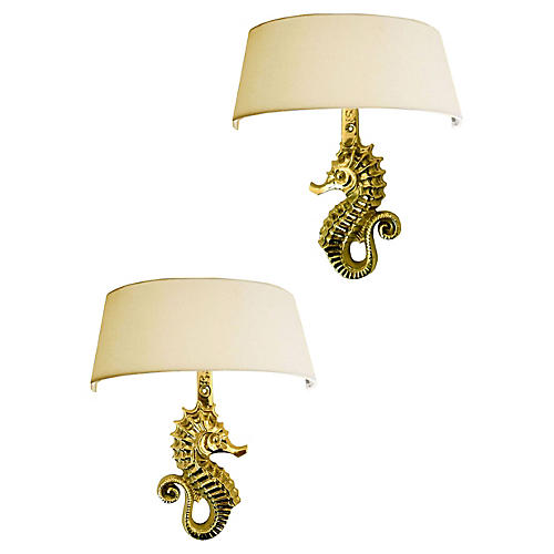 E. Guillemard Bronze Sconces, Pair