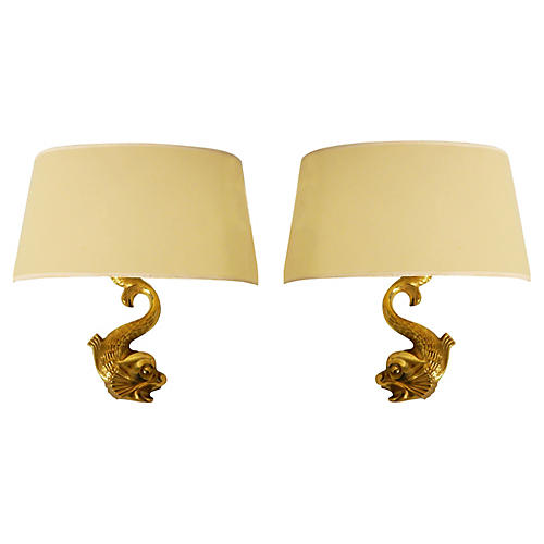 Dolphin Sconces, Pair
