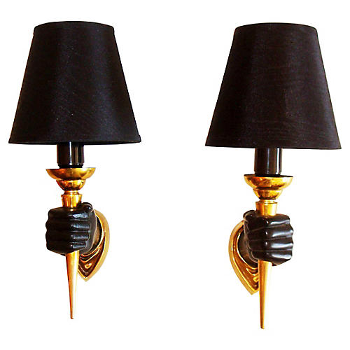 Bronze Sconces by Andre Arbus, S/2
