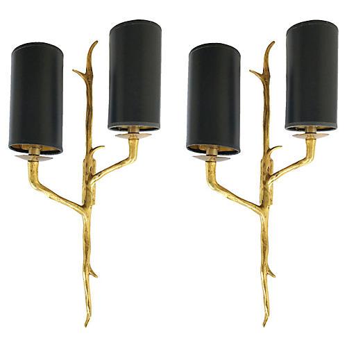 Agostini-Style Bronze Sconces, Pair