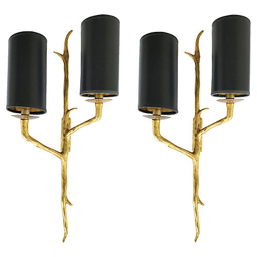 Agostini-Style Bronze Sconces, Pair