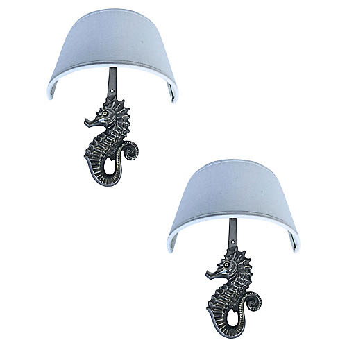 Seahorse Sconces by E.Guillemard, Pair