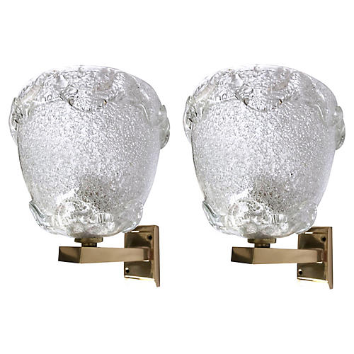 Italian White Barovier Sconces, Pair