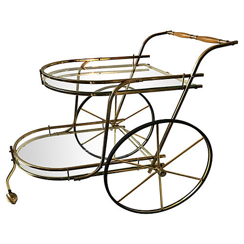 Midcentury Brass Bar Cart