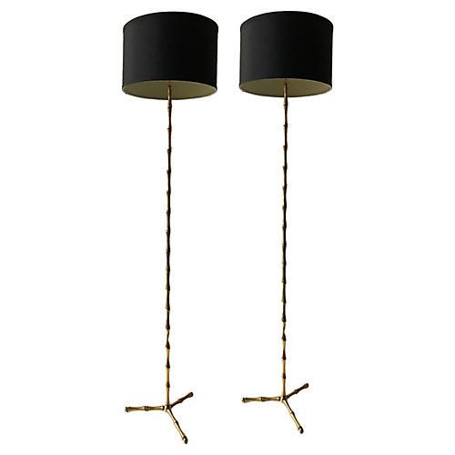 Bagues Bronze Floor Lamps, Pair
