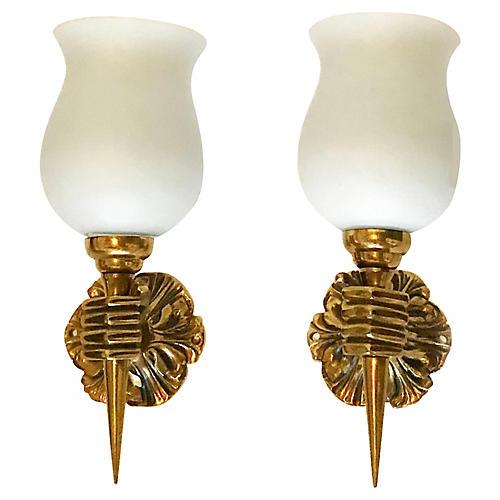 Arbus Bronze Sconces, Pair