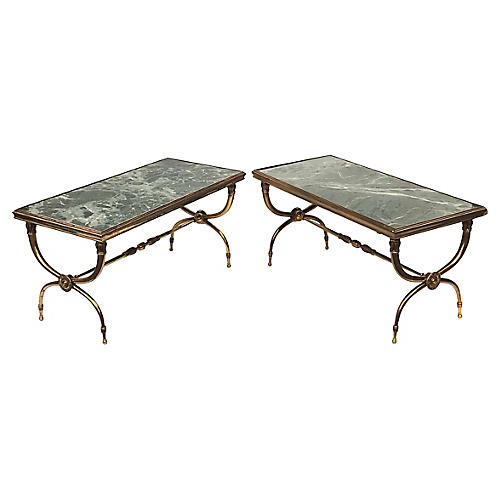 Raymond Subes Bronze Coffee tables. Pair