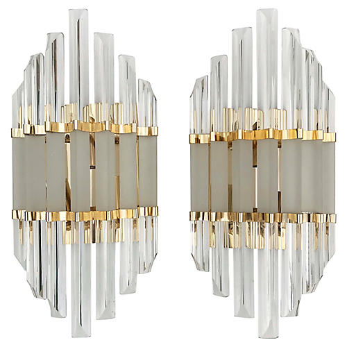 Oversize Murano Glass Sconces, Pair