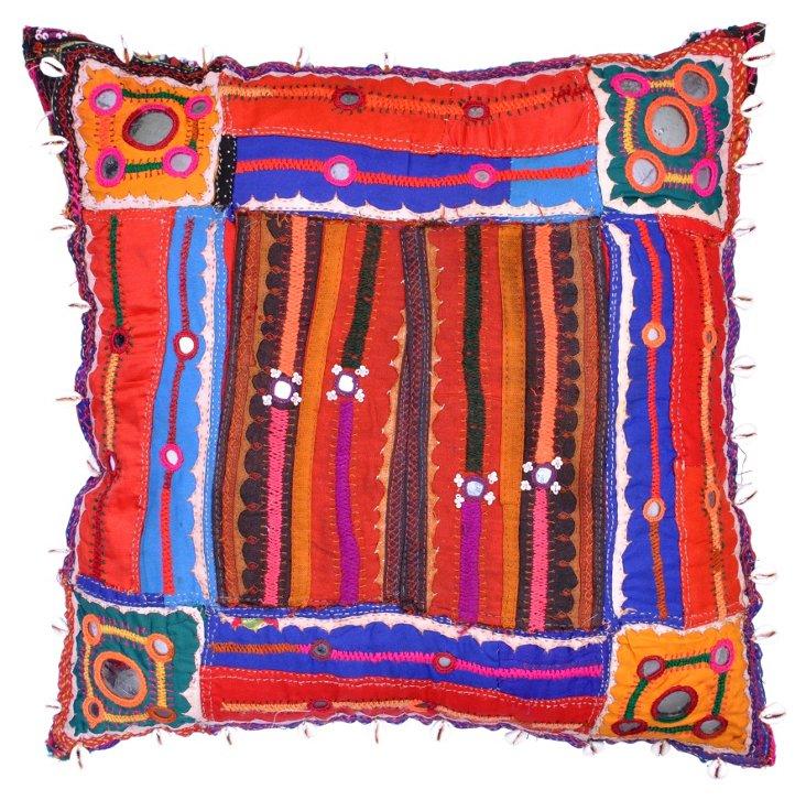 Pillow w/  Indian  Textile