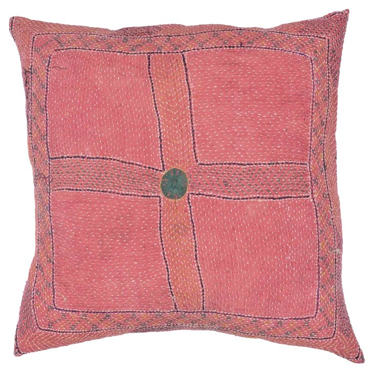 Pillow w/ Indian Kantha    Textile