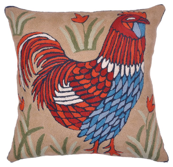 Indian       Crewelwork Pillow